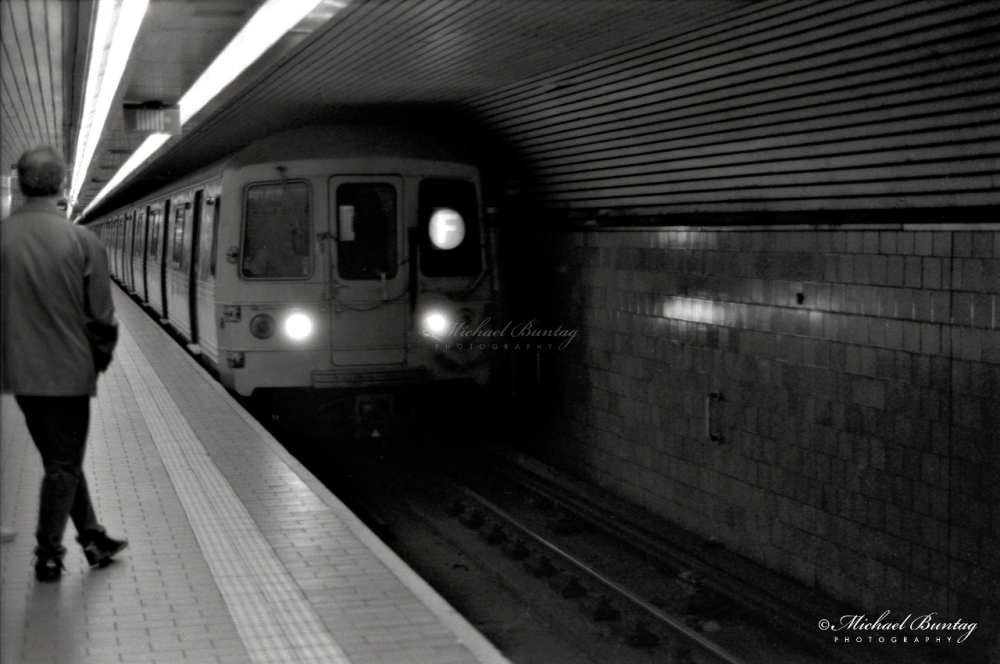 Subway, Manhattan, New York, New York. Shot 4/28/01.Ilford HP5+ BW negative 35mm film.