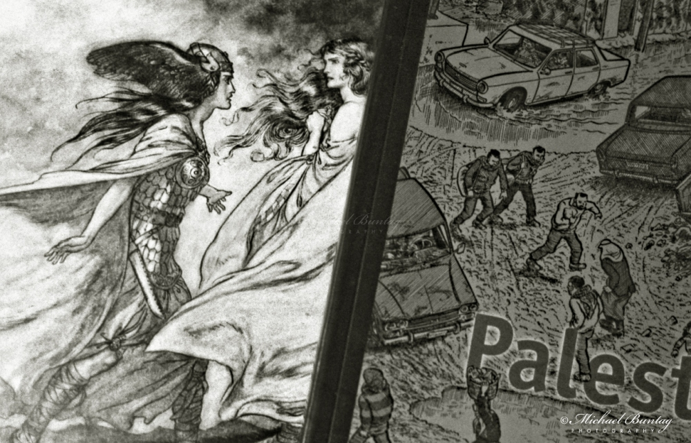 Arthur Rackham illustrations to Wagner's THE RING OF THE NIBELUNG, Joe Sacco Palestine, Los Angeles, California. Fujifilm Neopan 1600 35mm BW film.